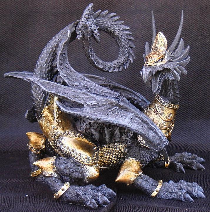 Medieval Armored Dragon Statue Figure Gold & Black | eBay