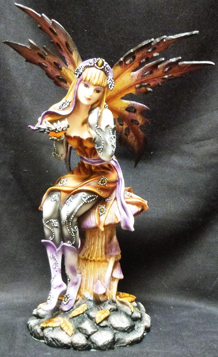 5.25 Inch Fairyland Pink Fairy Leaning on Mushroom Statue Figurine